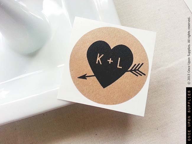 Cute Rustic Heart Favor stickers