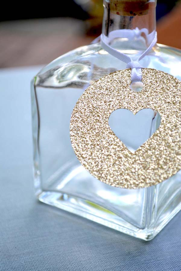Gold Glitter Heart Favor tags