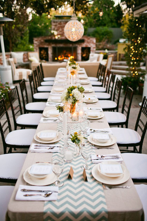 Gorgeous-chevron-runner-at-this-outdoor-dinner-party