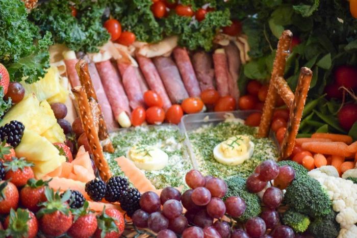 Healthy fruit and veggie snack stadium