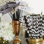 Kate spade black and white themed straws
