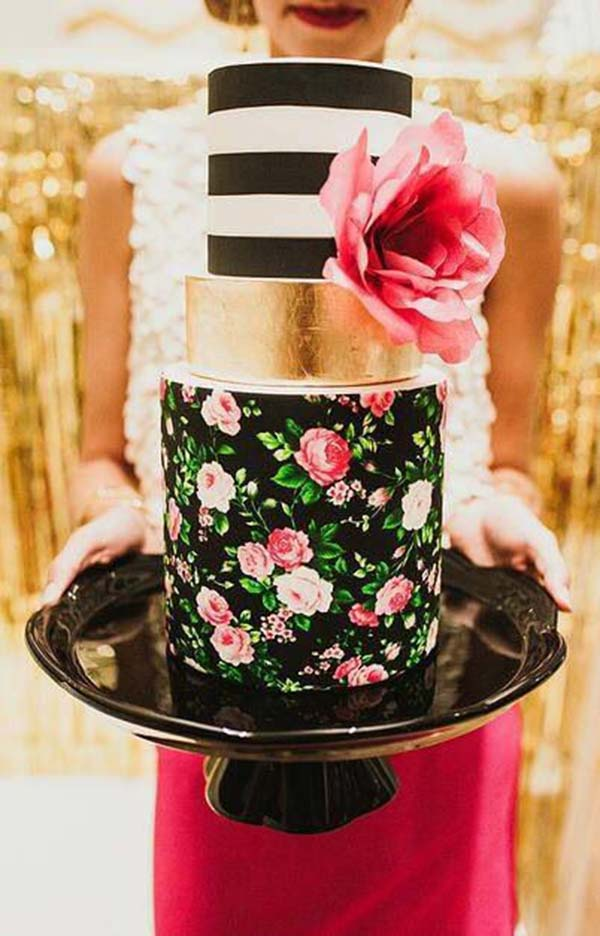 Love this fun black and whtie striped cake