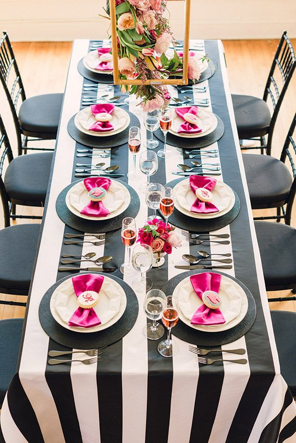 29de0b88f134 Lovely Black and white striped tablescape.  This Kate Spade inspired  tablescape ...