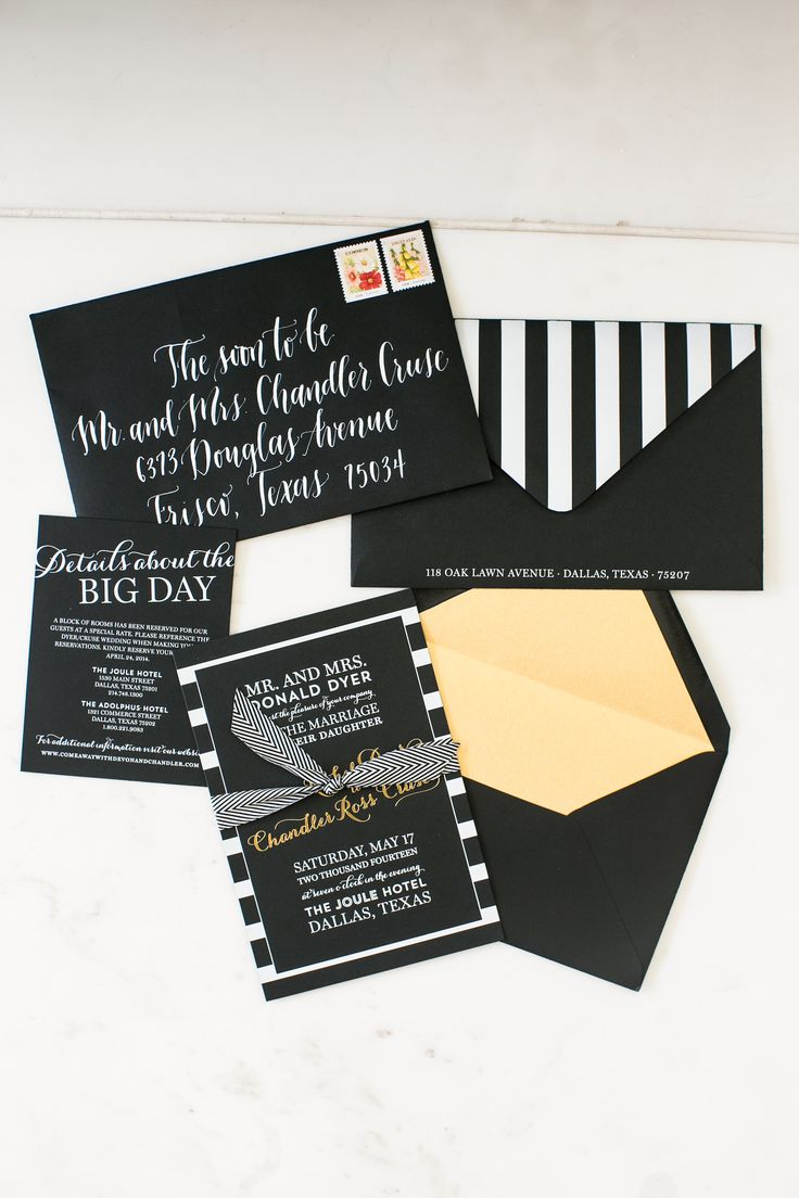 Lovely black and white striped Invite