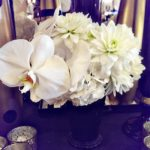 Lovely small floral centerpiece detail in a black mint julep cup!