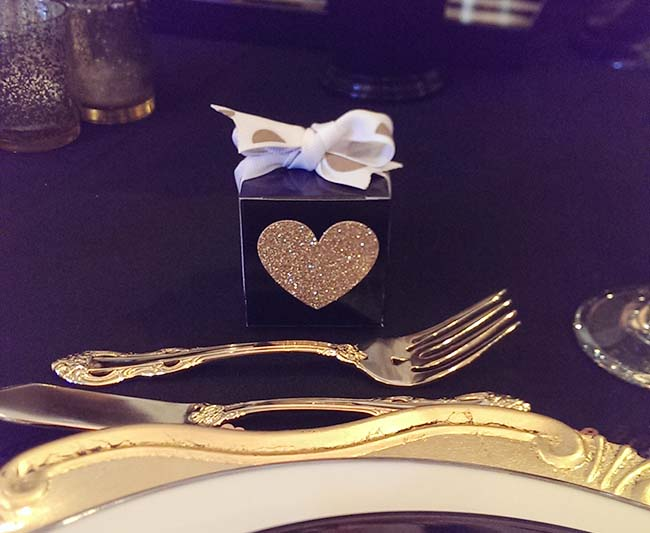 Mini Gold Glitter Heart Favor Boxes