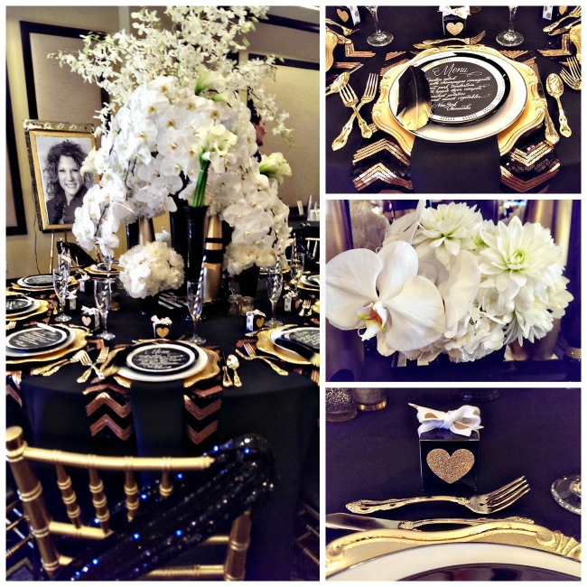 Modern Black, White And Gold Tablescape by B. Lovely Events