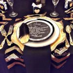 Modern black and gold place setting-Gorgeous!