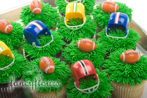Super Cute Football Cupcakes With Helmets For A Football Party