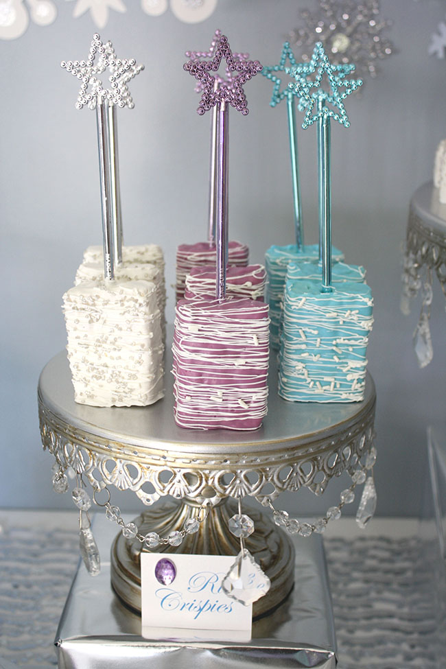 Frozen party Rice Crispie pops