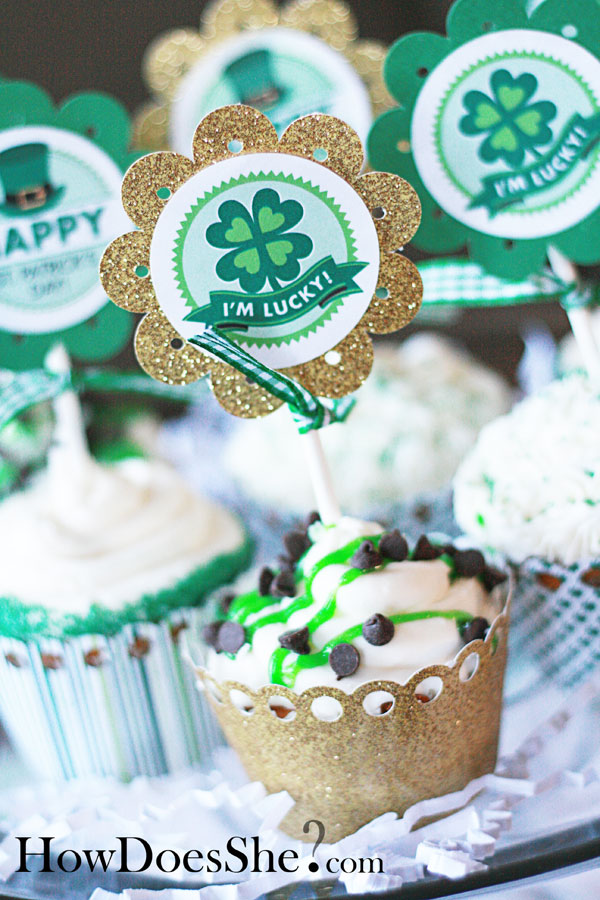 Lucky St. Patricks Day Cupcake Topper