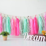 Pink and mint gree tassel garland