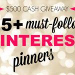 Pinterest $500 Cash Giveaway
