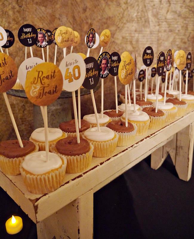 40th Birthday Roast & Toast Cupcakes
