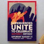Adorable Vintage Superhero Party Invitation