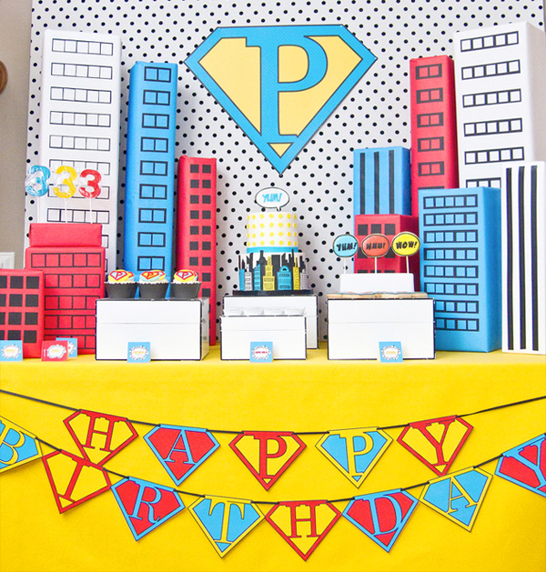 Adorable boys superhero party