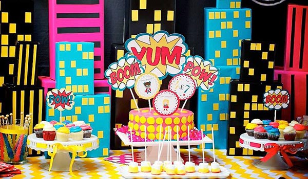 Cute Girls Superhero party table