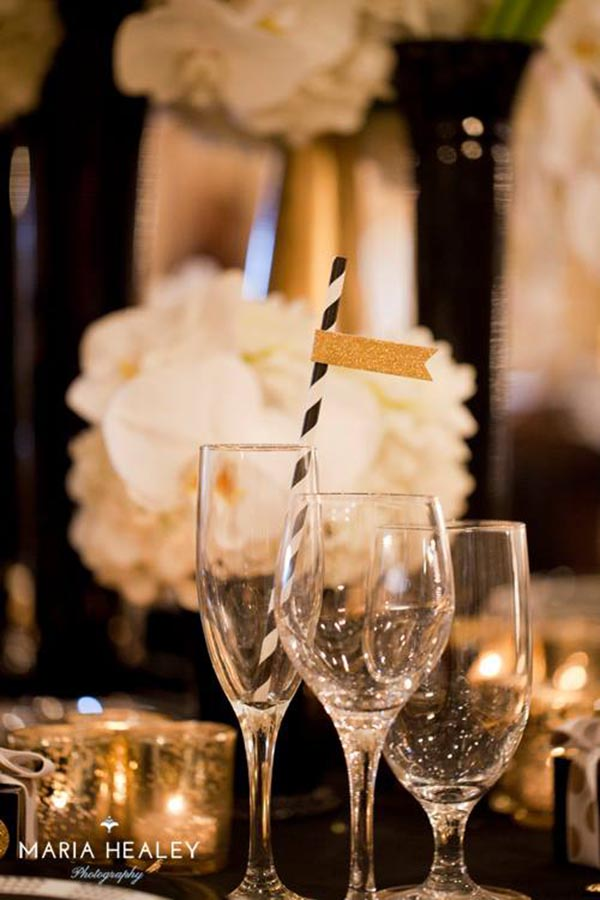 Cute black and gold straws