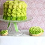 Cute green Ombre Cake And Cookies For St. Patrick's Day!