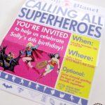 Girls Superhero Party Invite