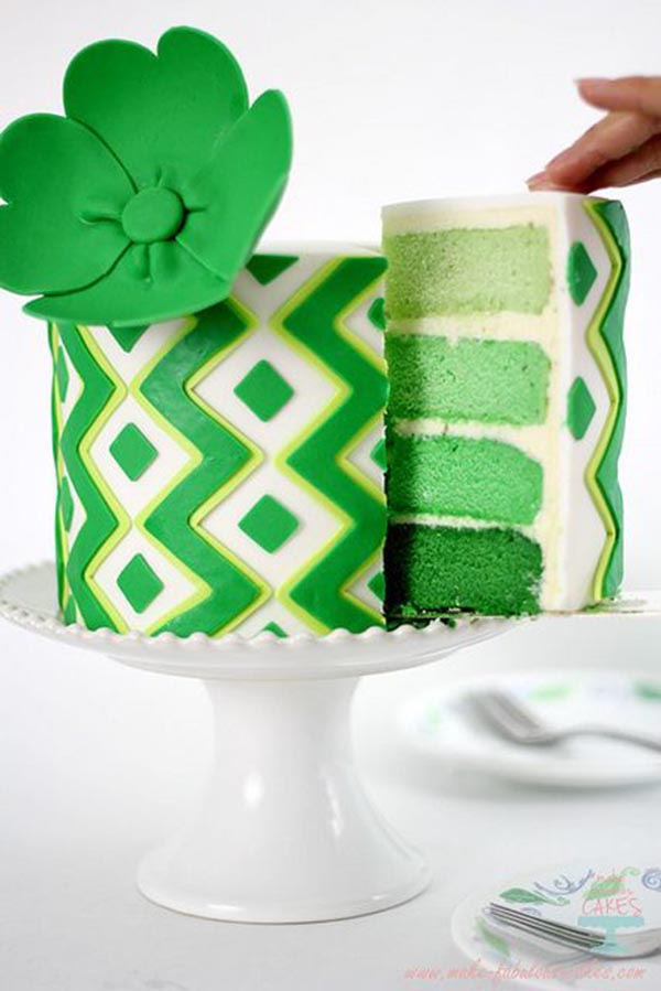 Green Ombre St. patrick's Day Cake