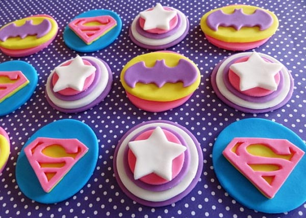 Love these fondant superhero cupcakes for a girls party