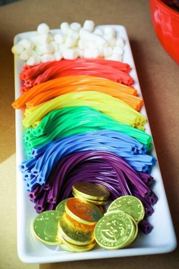 Pots of gold and rainbow licorice for St. Patrick's Day