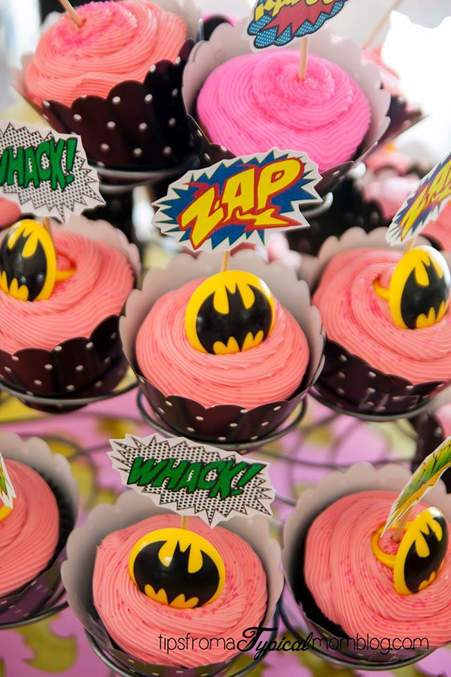 Superhero girls party cupcakes