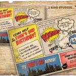 Vintage Comic strip Superhero Invitation