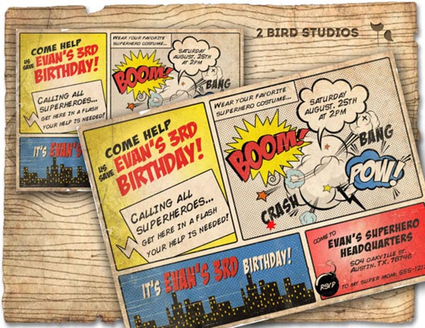 Vintage Comic strip Superhero Invitation