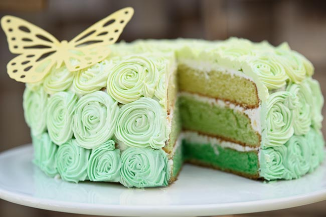 magical green Ombre cake just perfect for St. Patrick's Day