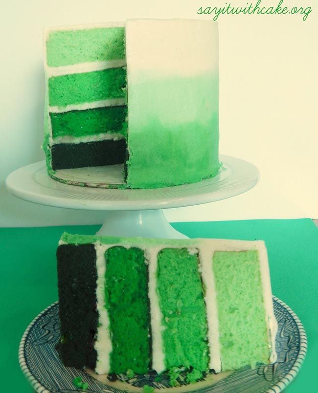 water color green ombre cake st. Patrick's day