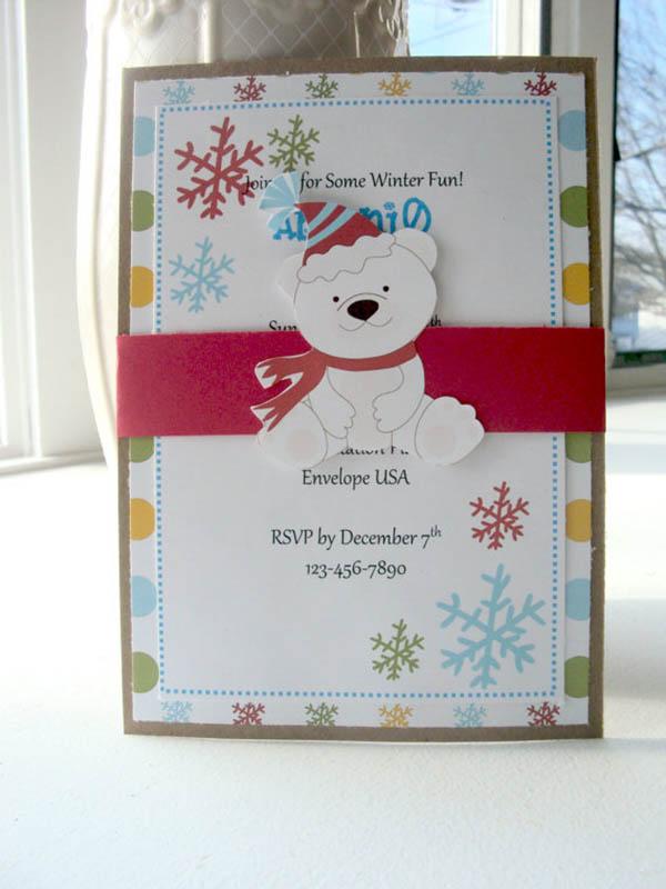 Adorable Polar Bear party invitation
