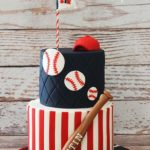 Love this baseball cake with a mini baseball bat