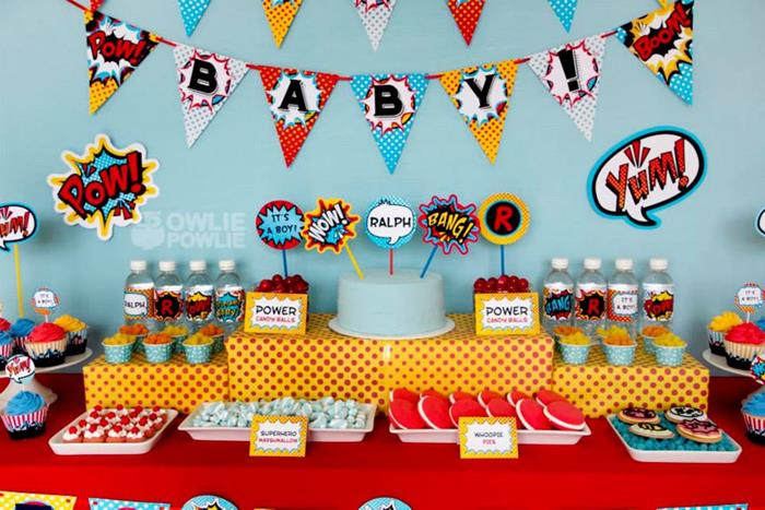 Love this whole superhero baby shower!