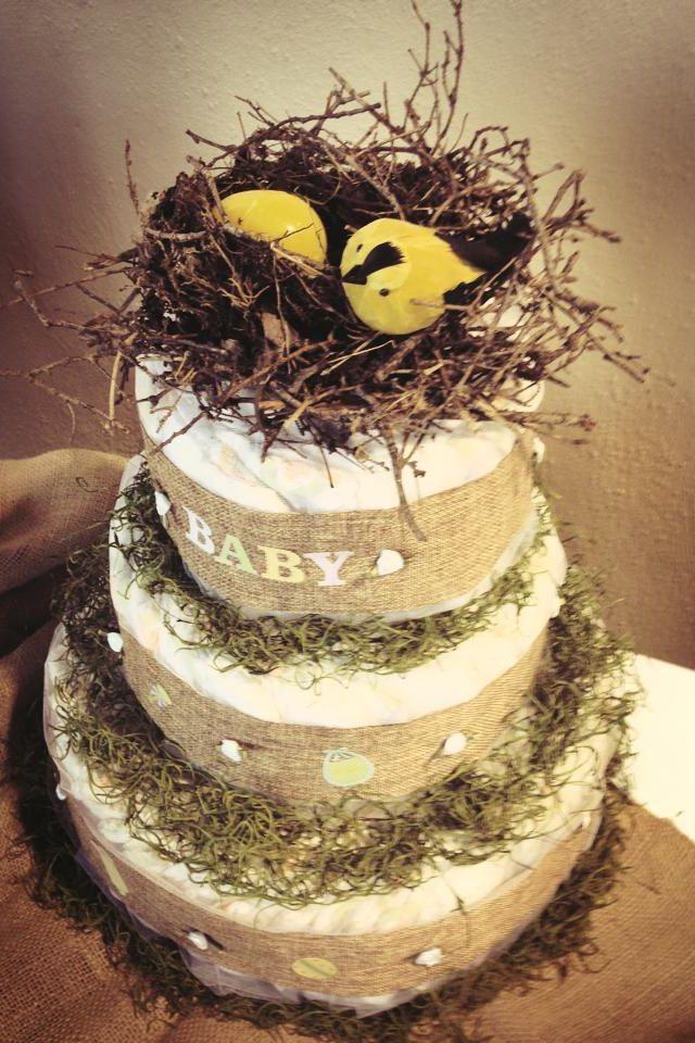 Nest baby shower diaper cake!