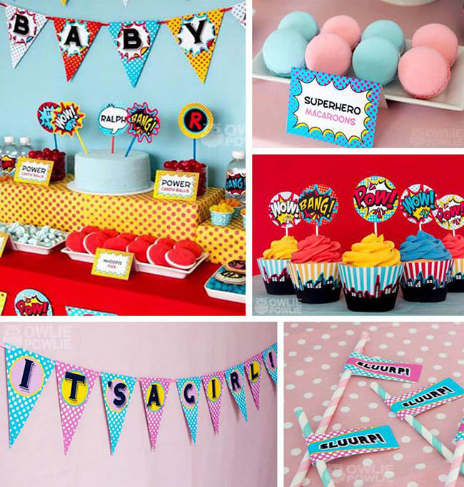adore all of the superhero baby girl and baby boy shower decorations