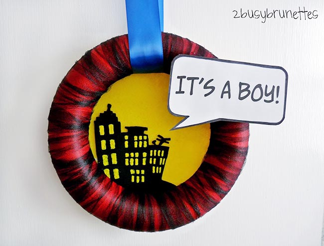 Superhero Its a boy baby shower wreath