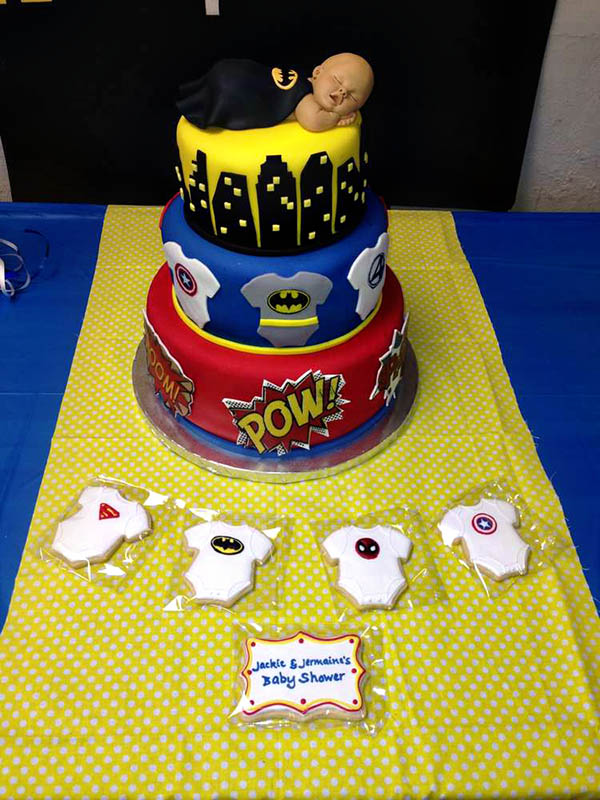 Superhero baby shower cake!