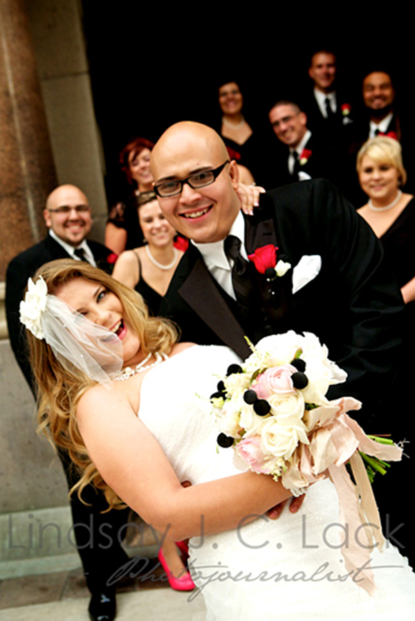 Black And White Wedding, Bride And Groom