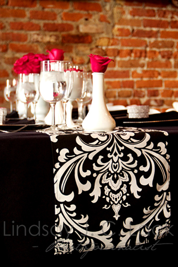 Love These Milk Glass Centerpieces And Damask Runner