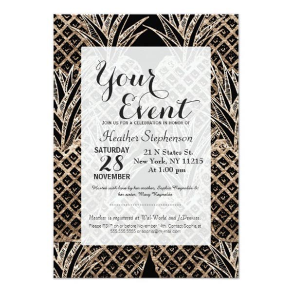 Lovely And sophisticated pineapple party invite!