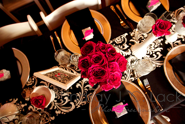 Pink, Black And White Rose Centerpieces