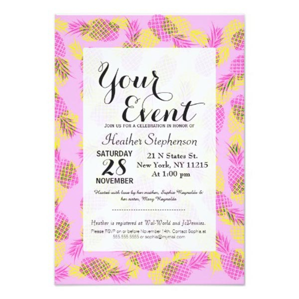 Pink and Yellow Modern Pineapple Party Invitation
