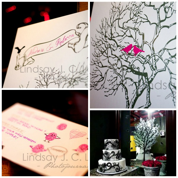 Wedding Thumbprint Guestbook- So cute with the birds!