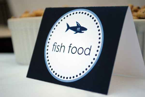 Shark Party Food Tents- Love these!