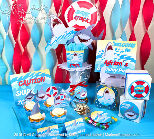 Super Cute Shark Party printable set!