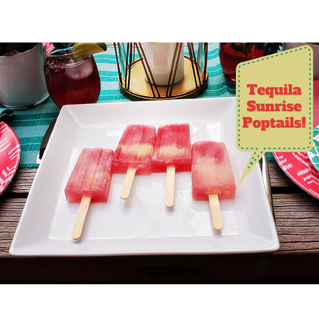 Tequila Sunrise Poptails! Get the recipe! -B. Lovely Events