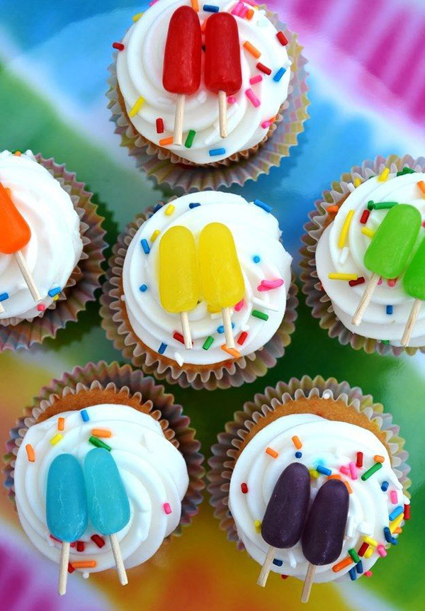 These cute desserts from our readers are sure to delight the new mom and her guests. The mini pacifiers topping these cupcakes are fashioned from Life Savers .