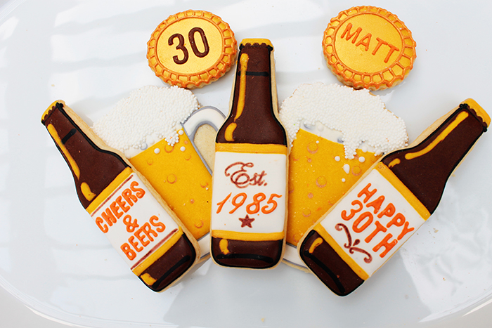 Beer Cookies- They Were perfect for this 30th birthday beer bash